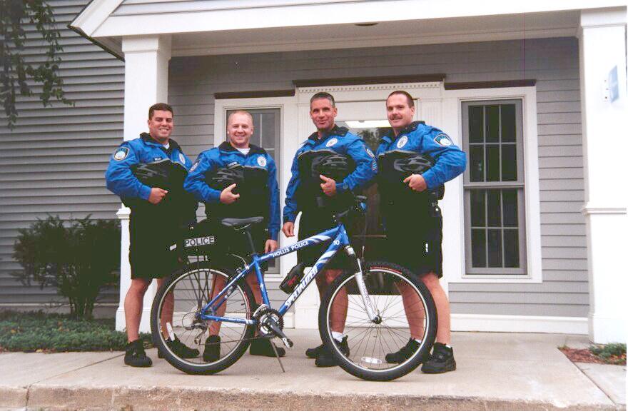 (Bike Patrol Unit circa 2002 - L to R - Officer Richard Mello, Officer David Turgeon, Sgt. Kevin Irwin, Officer Kris Thibault)