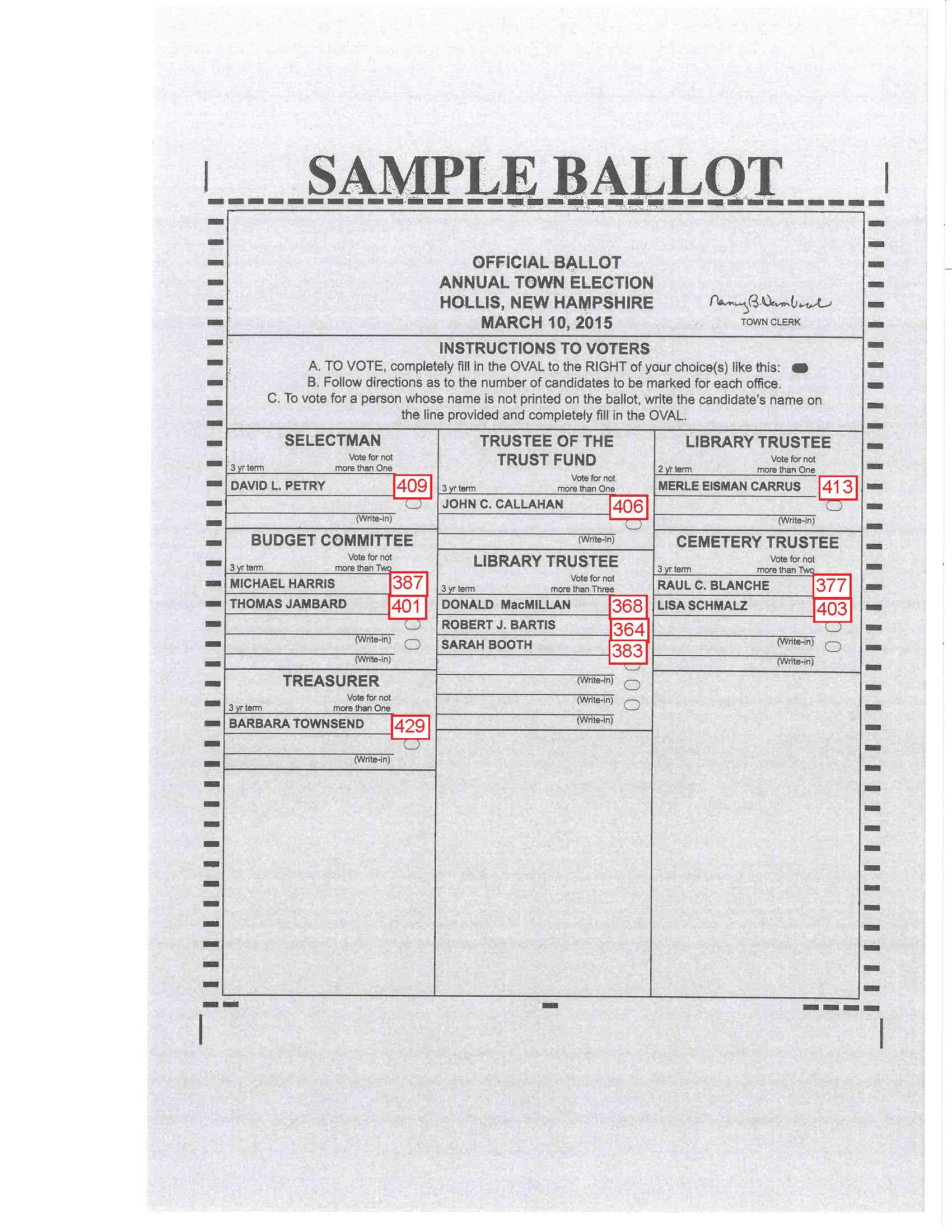 Sample ballot and audio instructions from town moderator of.